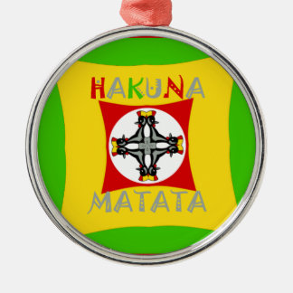 Hakuna Matata Rasta Farbrotes goldenes Grün Silbernes Ornament