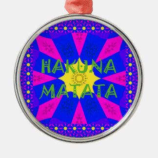 Hakuna Matata schöne fantastische Entwurfs-Farben Rundes Silberfarbenes Ornament