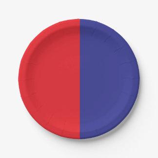 Halb rotes/halbes Blau Pappteller