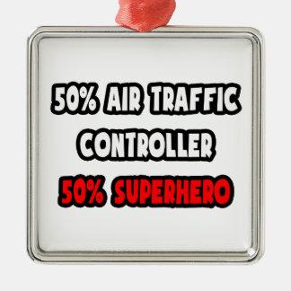 Halber Fluglotse-… halb Superheld Silbernes Ornament