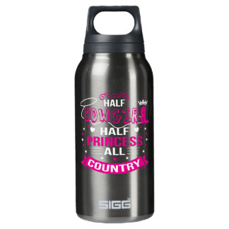 Halbes Cowgirl-halbe Prinzessin All Country Isolierte Flasche