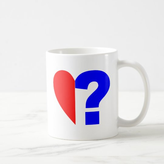 halbes Herz Fragezeichen half heart question mark Kaffeetasse
