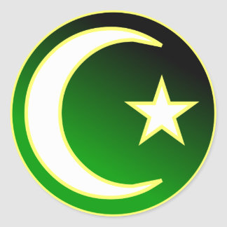 Halbmond u. Stern des Islams Runder Aufkleber