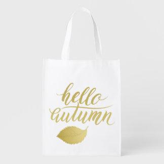 Hallo Atumn | Imitat-Goldbürsten-Skript Wiederverwendbare Einkaufstasche
