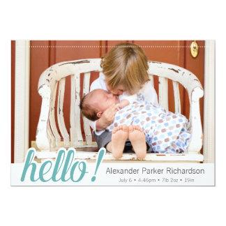 Hallo Baby-Jungen-Foto-Geburt 12,7 X 17,8 Cm Einladungskarte