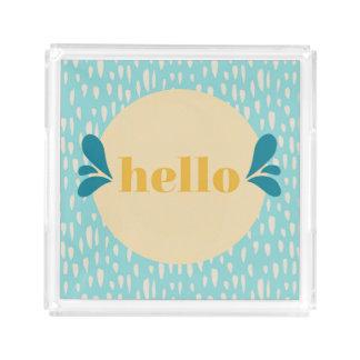 Hallo blaues und gelbes Serviertablett Acryl Tablett