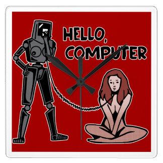 Hallo, Computer Quadratische Wanduhr