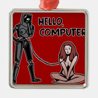 Hallo, Computer Silbernes Ornament