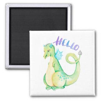 Hallo Dinosaurier Quadratischer Magnet