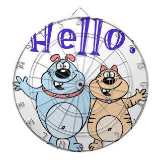 hallo, Entwurf mit zwei niedlicher Cartoons Dartscheibe