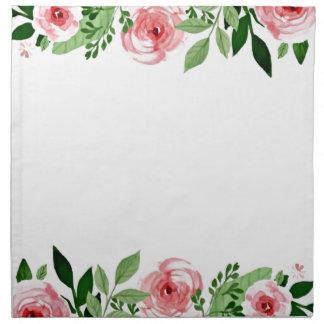 Hallo Frühlingrosa Watercolor-Rosen-hübsche Serviette