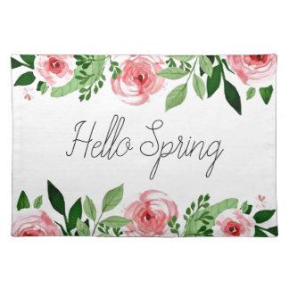Hallo Frühlingrosa Watercolor-Rosen-hübsches Stofftischset