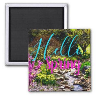 Hallo Frühlings-Blumengarten-Magnet Quadratischer Magnet