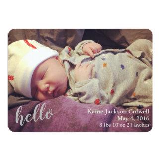 Hallo! Geburts-Mitteilung Karte