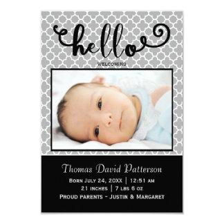hallo graues Foto - Mitteilung der Geburts-3x5 Karte