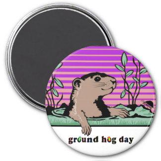 Hallo, Groundhogs Schatten - Runder Magnet 7,6 Cm