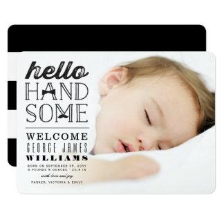 Hallo hübsche Baby-Jungen-Foto-Geburts-Mitteilung 12,7 X 17,8 Cm Einladungskarte