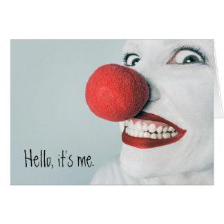 Hallo, ist es ich lustiges Clown-Gesicht Grußkarte