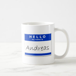 Hallo ist mein Name Andreas Kaffeetasse