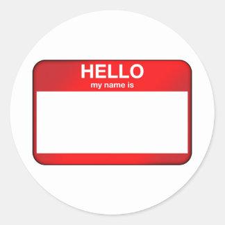 Hallo ist mein Name… Runder Sticker