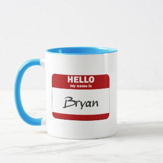 Hallo ist mein Name Bryan (rot) Tasse