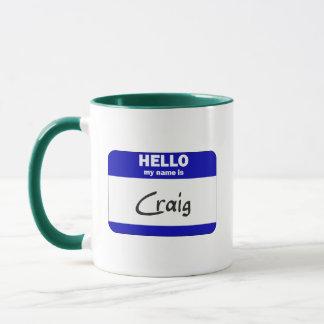 Hallo ist mein Name Craig (blau) Tasse
