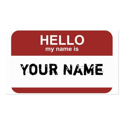 Hallo ist mein Name, Ihr Name Visitenkarte