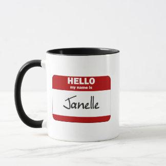 Hallo ist mein Name Janelle (rot) Tasse