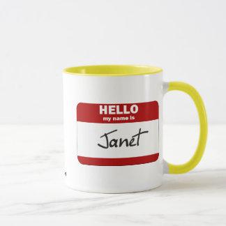 Hallo ist mein Name Janet (rot) Tasse