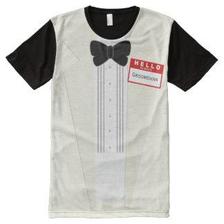Hallo ist mein Name Trauzeugetuxedo-Hochzeits-T - T-Shirt Mit Komplett Bedruckbarer Vorderseite