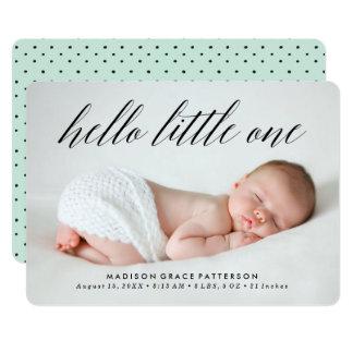 Hallo kleine   Foto-Geburts-Mitteilung 12,7 X 17,8 Cm Einladungskarte