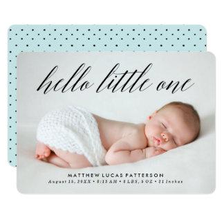 Hallo kleine | Foto-Geburts-Mitteilung Karte