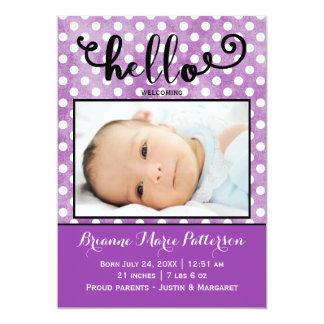 hallo lila Foto - Geburts-Mitteilung Karte