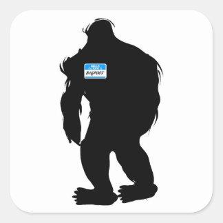 Hallo-Mein Name ist Bigfoot Quadrat-Aufkleber