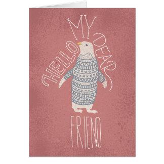 Hallo meine liebe Freund-Pinguin-Postkarte Grußkarte