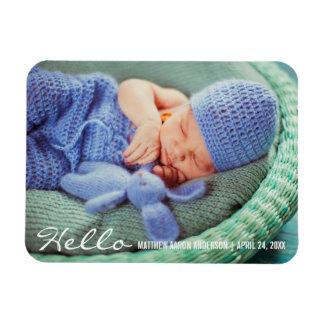 Hallo neuer Baby-Mitteilungs-Foto-Magnet W Magnet