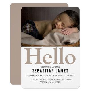 Hallo neuer BabyTaupe personalisiert Karte