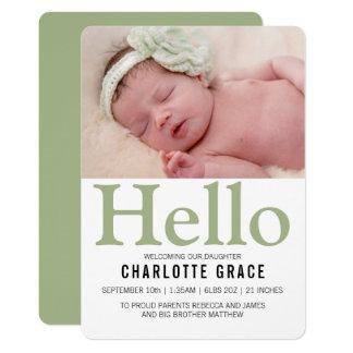Hallo neues Baby-Grün personalisiert 12,7 X 17,8 Cm Einladungskarte