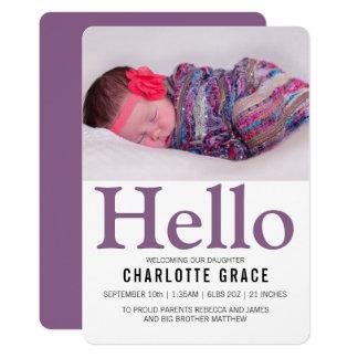 Hallo neues Baby-lila personalisiertes Karte