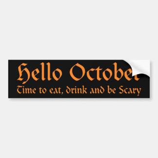 Hallo Oktober - Zeit zu essen, zu trinken und Autoaufkleber