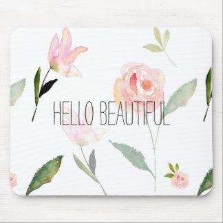 Hallo schönes Aquarell mit Blumen Mauspad