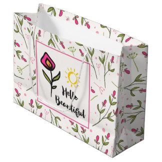 Hallo schönes hübsches rosa orange Wildlflower Große Geschenktüte