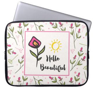 Hallo schönes hübsches rosa orange Wildlflower Laptopschutzhülle