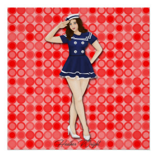 Hallo SeemannRetro Pinup-Mädchen-Kunst Poster