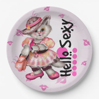 """HALLO SEXY Papier-Teller CARTOON CAT NIEDLICHER 9"""" Pappteller"""