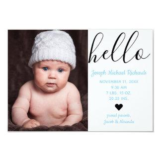 Hallo Skript-Foto - Mitteilung der Geburts-3x5 Karte