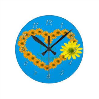 Hallo Sommer, mit Blumen, Spaß, Sonnenblume Runde Wanduhr