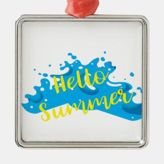 Hallo Sommer, Wellen-Grafik, cooles Weiß Silbernes Ornament
