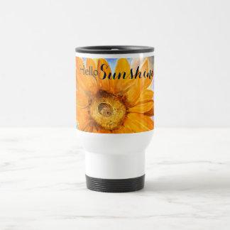 Hallo Sonnenschein-Sonnenblume-Kunst-Reise-Tasse Edelstahl Thermotasse