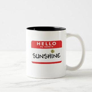 Hallo Sonnenschein-Tasse Zweifarbige Tasse